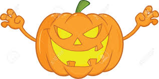 scaring halloween pumpkin cartoon mascot illustration royalty free