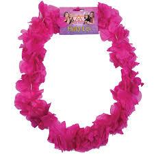 hawaiian pink hula grass skirt and garland fancy dress set