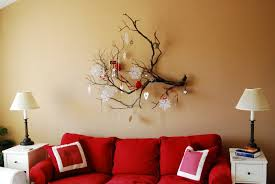 Tree Branch Home Decor Artistic Diy Tree Branches For Wall Decoration With Stunning Red