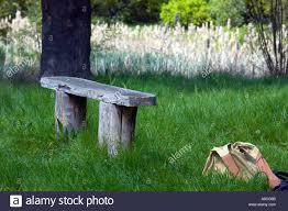 Rustic Wooden Bench An Old Rustic Wooden Bench With An Abandoned Bag In Epping Forest