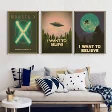 believe home decor retro poster kraft vintage paper x files i want to believe wall