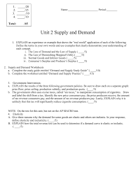unit 2 supply and demand 1 20 2 25