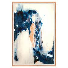 ceramic glaze indigo drop copper leaf painting walnut frame