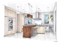 sketch drawing of a kitchen with island google search sketches