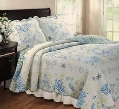 Seashell Duvet Cover Coastal Seashell Coral Blue Green Cotton Quilt Set Luxury Linens