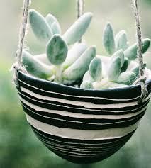 striped black u0026 white ceramic hanging planter home decor