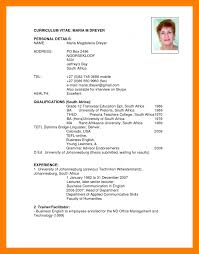curriculum vitae exles for students in south africa cv image types europe tripsleep co
