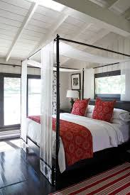 Dark Canopy Bed Curtains Framing Embroidery Bedroom Beach Style With Red And White Rug