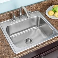 glowtone 25 x 22 topmount single bowl 18 gauge kitchen sink