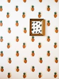 removable wallpaper pineapple print adheres walls and