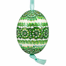 center painted opole style duck egg green and gold