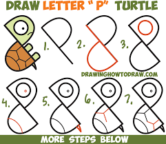 how to draw a cute cartoon turtle from letter