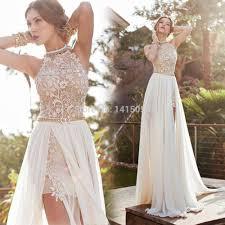 turmec lace halter dress white