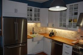 Kitchen White Ikea Cabinets Butcher Block Counter Tumbled - Butcher block backsplash