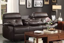 Brown Leather Reclining Sofa by Homelegance Evana Double Reclining Sofa With Drop Down Center Cup