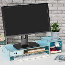 Desk Organizer Shelf by Sunlightam Computer Monitor Riser Desktop Stand Wooden Tv Rack Led