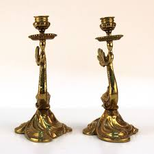 antique dolphin ring holder images Pair of brass dolphin candlestick holders nyshowplace jpg