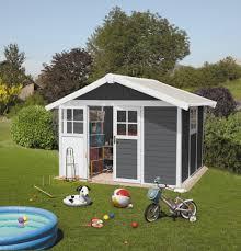 grosfillex deco 10x8 pvc plastic shed in white u0026 dark grey