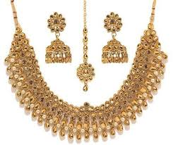 gold earrings necklace images Bindhani gold plated kundan choker necklace jhumki earrings set at jpg