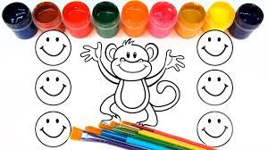 coloring for children to learn colors and paint this monkey