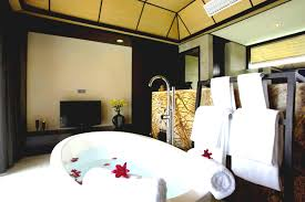 bathroom contemporary bathroom with oval bathtub on wooden