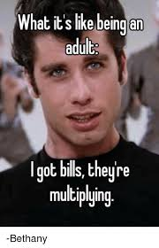 Hilarious Adult Memes - what its like being an adult got bills theyre multiplying bethany