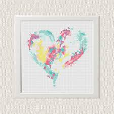 heart cross stitch pattern free shipping watercolour cross