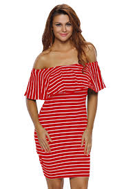 us 4 37 red white striped off shoulder bodycon dress dropshipping