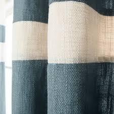 Striped Linen Curtains Grey Striped Heavyweight Textured Faux Linen Grommet Top Curtain Pair