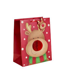 large christmas gift bags rudolph with a 3d nose christmas gift bag large x 1pc