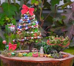 Mini Decorated Christmas Trees Oh Christmas Tree For Miniature Garden Fairy Garden