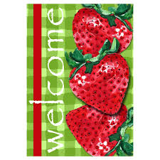 Custom Decor Garden Flags Amazon Com Custom Decor Spring Garden Flag Welcome Strawberry