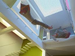 suspended net floor bed skylight trampolines and house
