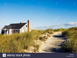 beach cottage and dune grass yarmouth cape cod ma stock photo