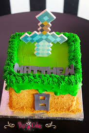 minecraft cake birthday cake 8 edible image diamond sword grass
