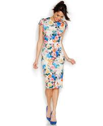 betsey johnson rose print midi scuba sheath dresses women