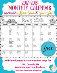 free 2017 2018 monthly calendar for kids liz u0027s early learning spot