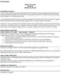 Data Analyst Resume Examples by Data Analyst Cv Example Icover Org Uk