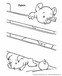 farm animal coloring page pigs climb over fence animais
