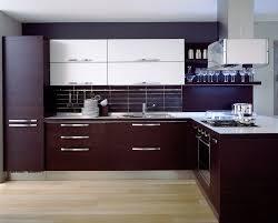 Small Minimalist Kitchen With Rosewood Modern Kitchen Cabinets - Rosewood kitchen cabinets