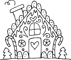 surprising gingerbread coloring page with gingerbread house
