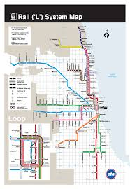 Map Chicago by L Chicago Metro Map United States