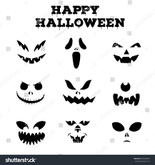 collection halloween pumpkins carved faces silhouettes stock