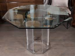 Glass Top Oval Dining Table Luxe Mid Century Modernist Octagonal Dining Table In Chrome