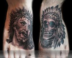 chrisgarcia native american head dress black and grey skull jesus