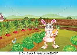 rabbit garden illustration of a bunny holding a carrot along the garden clipart