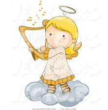cartoon vector of happy angel playing harp on a cloud by bnp