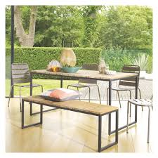 6 Seat Patio Table And Chairs Raven 6 Seat Teak And Metal Garden Table Metal Garden Table