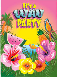 luau invites pack of 8 hawaiian luau messages the party shop