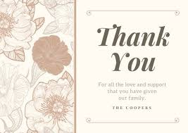thank you card for customize 28 funeral thank you card templates online canva